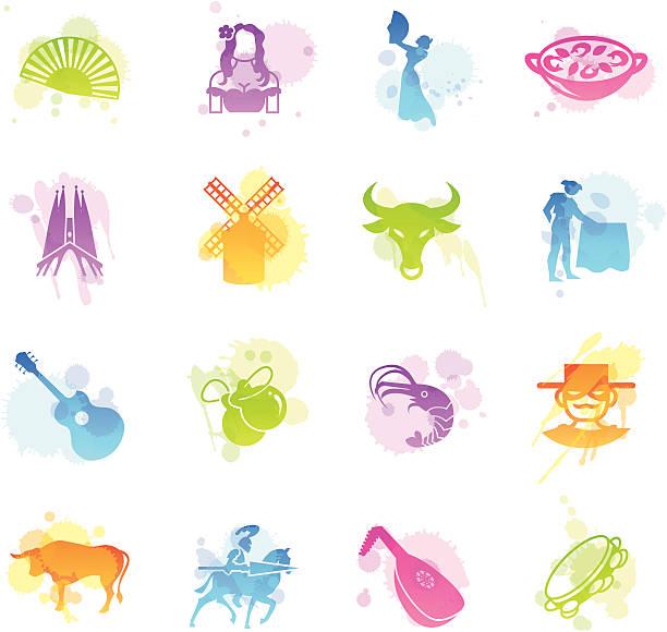 plamy ikony-hiszpania - kastaniety stock illustrations