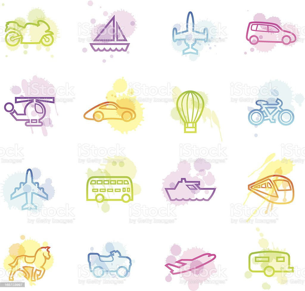 Stains Icons - Transportation Outlines royalty-free stock vector art