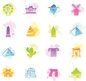 Illustration of different travel monuments & destinations.