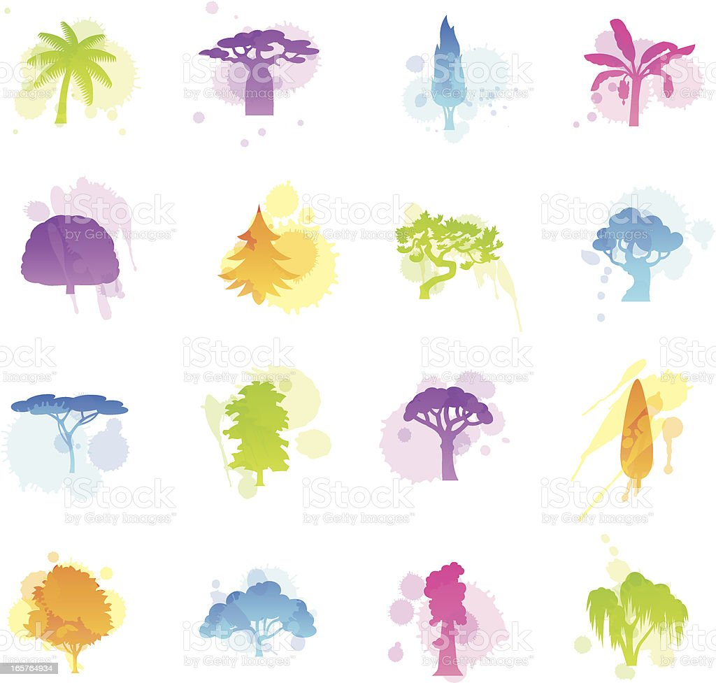 Stains Icons - Trees vector art illustration