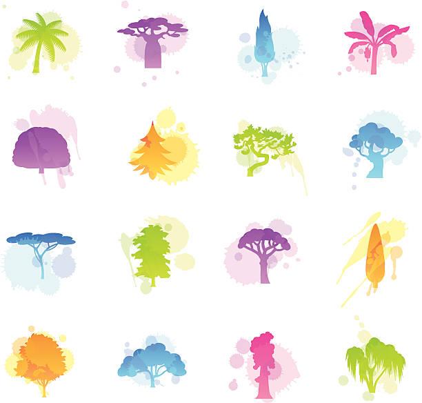 Manchas iconos de los árboles - ilustración de arte vectorial