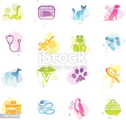 A collection of 16 different veterinary related symbols.