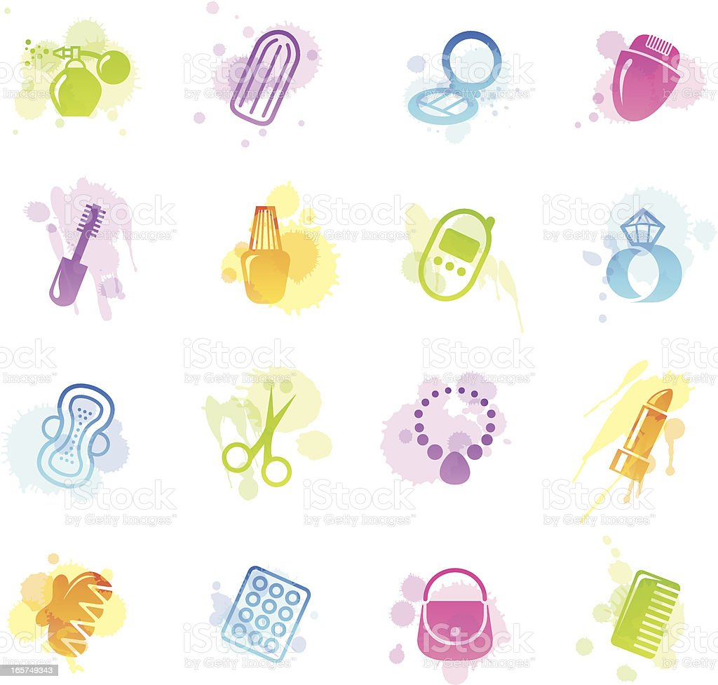 Stains Icons - Woman's Accessories royalty-free stains icons womans accessories stock vector art & more images of adult