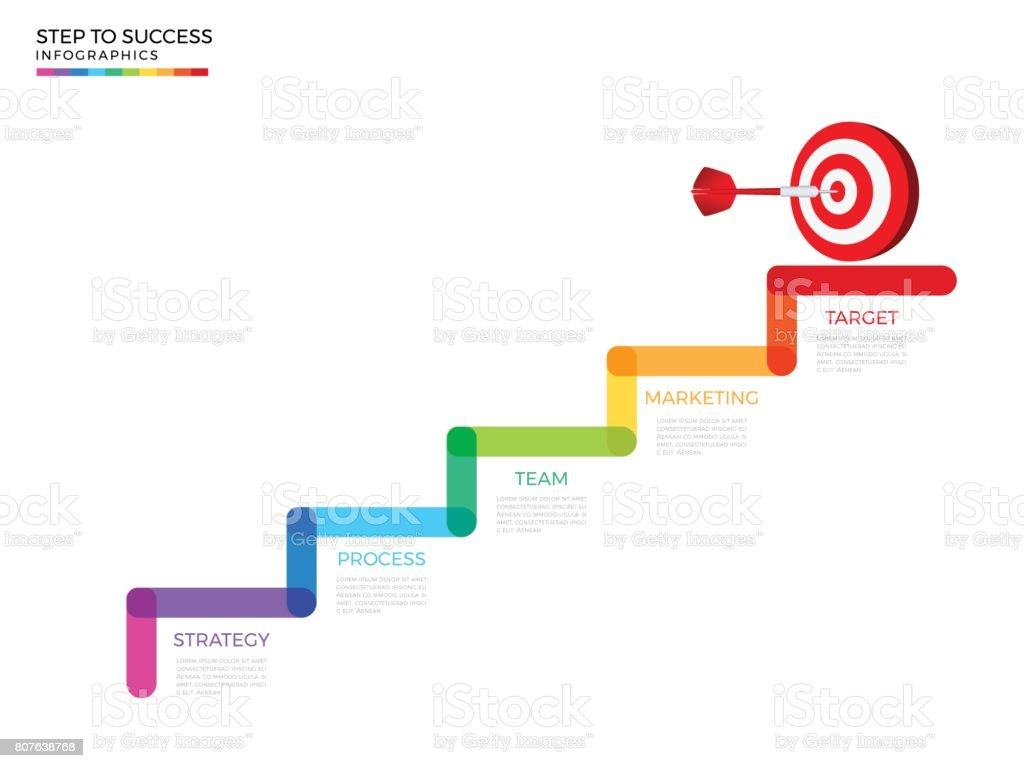 Stair Step To Dart Board Target And Success Concept Business ...