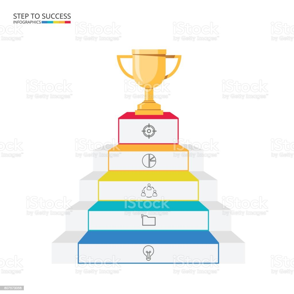 stair step to trophy and success infographics template with icons