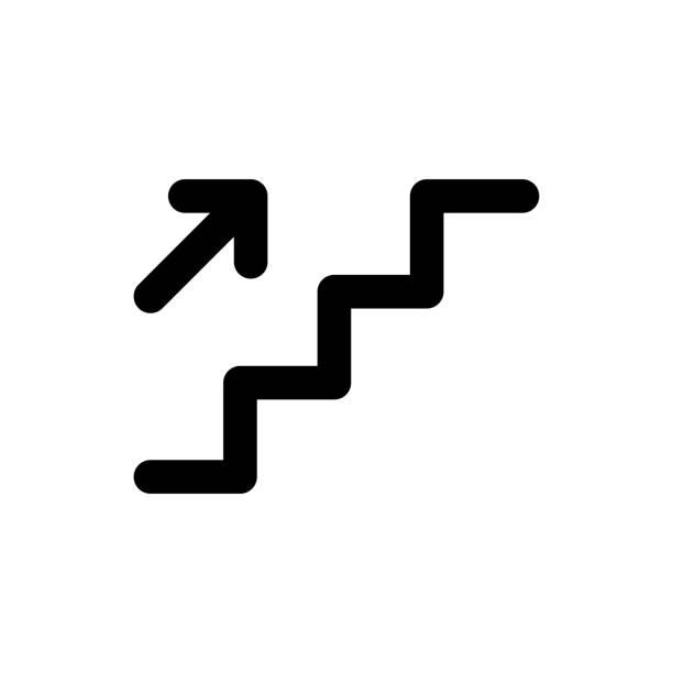 treppenweg, leiter-symbol - treppe stock-grafiken, -clipart, -cartoons und -symbole