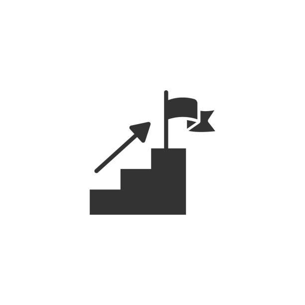 treppe mit finish-flagge-symbol im flachen stil. leadership challenge vektor-illustration auf weißem hintergrund. geschäftskonzept für das karrierewachstum. - treppe stock-grafiken, -clipart, -cartoons und -symbole