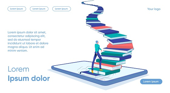 Staircase from Books Rises Smartphone, Man goes up