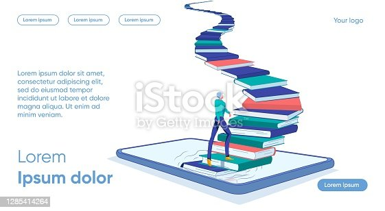 istock Staircase from Books Rises Smartphone, Man goes up 1285414264
