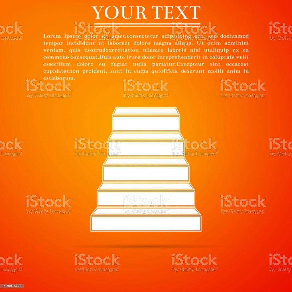 Treppe-Symbol auf orangem hintergrund isoliert. Flaches Design. Vektor-Illustration - Lizenzfrei Abstrakt Vektorgrafik