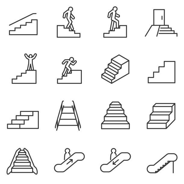 treppe-symbole festgelegt. linie mit editierbaren schlaganfall - treppe stock-grafiken, -clipart, -cartoons und -symbole