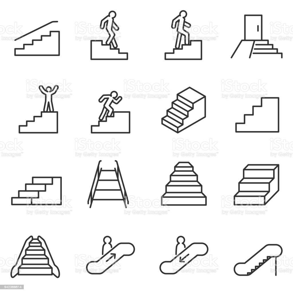 Ensemble d'icônes escalier. La ligne barrée modifiable - Illustration vectorielle
