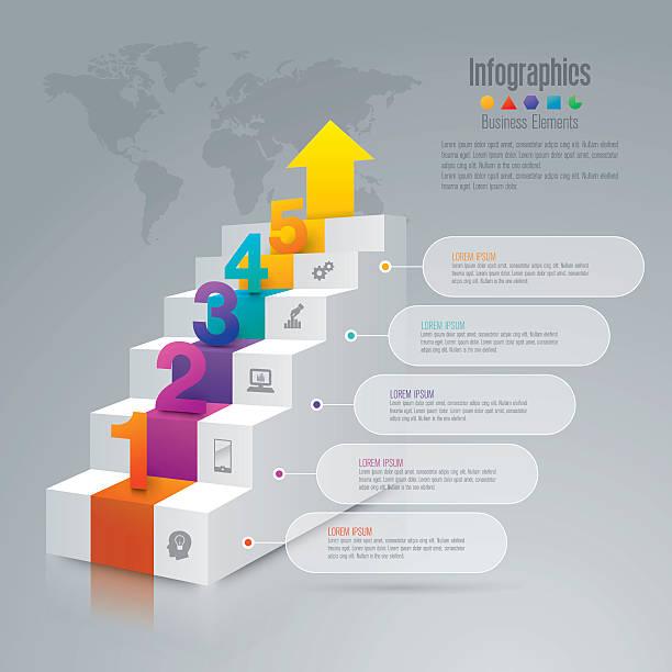 treppen-infografik-design-vektor und business-icons. - treppe stock-grafiken, -clipart, -cartoons und -symbole