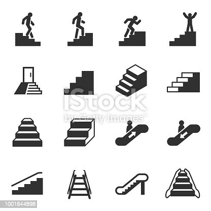 Staircase, monochrome icons set. simple symbols collection