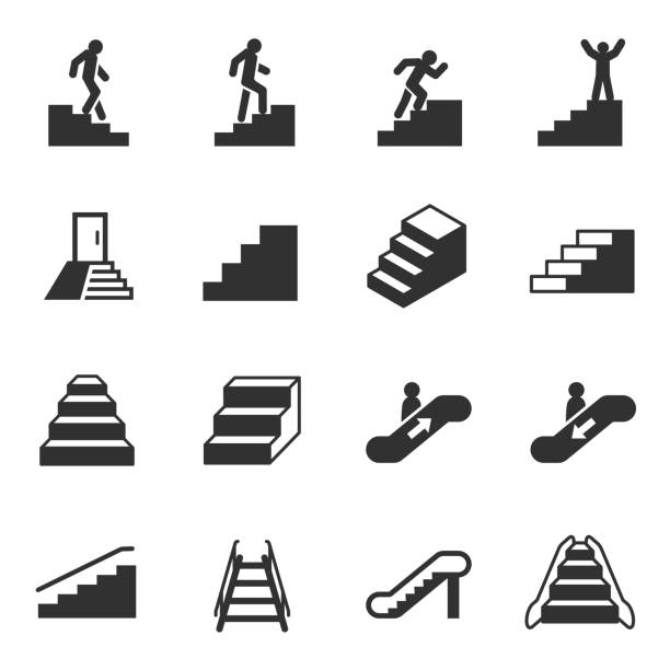 treppe, monochromen icons set - treppe stock-grafiken, -clipart, -cartoons und -symbole