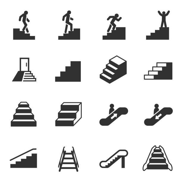 stockillustraties, clipart, cartoons en iconen met trap, zwart-wit pictogrammen instellen - tree
