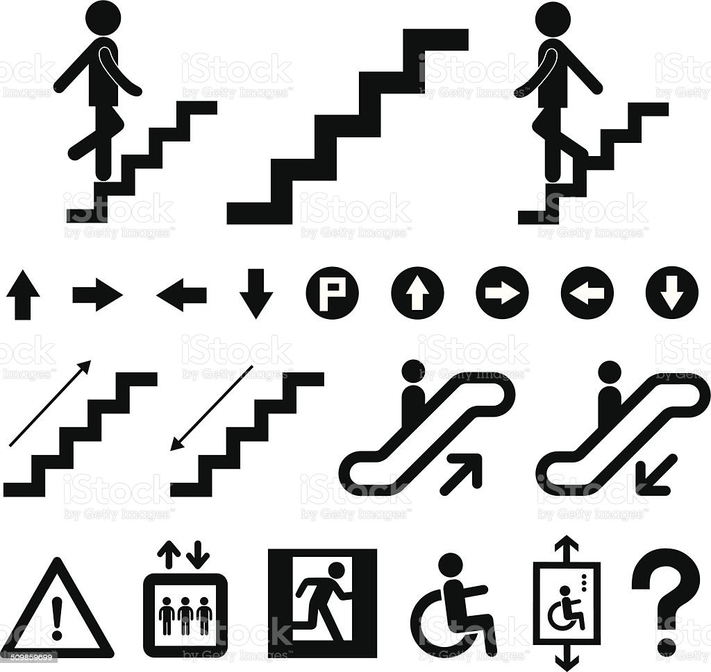 staircase symbol set vector art illustration