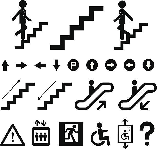 stockillustraties, clipart, cartoons en iconen met staircase symbol set - tree