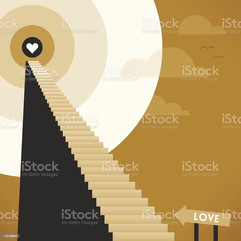 Staircase to Love royalty-free stock vector art