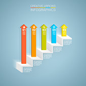 Staircase with arrows art bar. Vector illustration