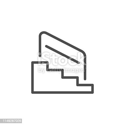 Stairs and railing line outline icon isolated on white. Vector illustration
