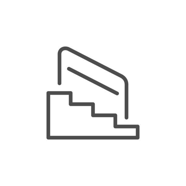 stockillustraties, clipart, cartoons en iconen met trappen en railing lijn schets icoon - veiligheidshek