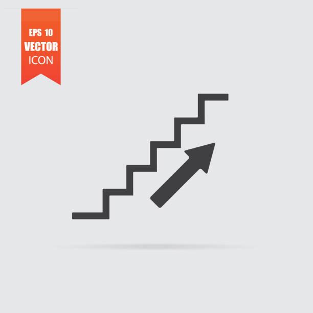 灰色の背景に分離されたフラット スタイルの階段のアイコン。 - ステップ点のイラスト素材/クリップアート素材/マンガ素材/アイコン素材