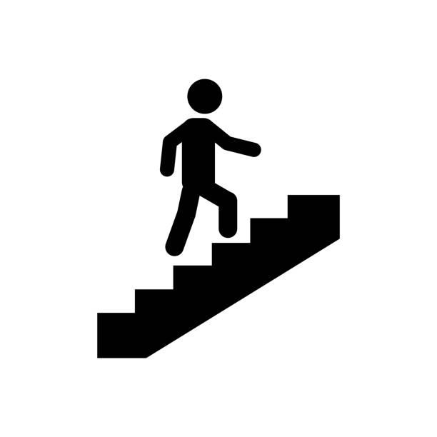 treppen-symbol auf weißem hintergrund - treppe stock-grafiken, -clipart, -cartoons und -symbole
