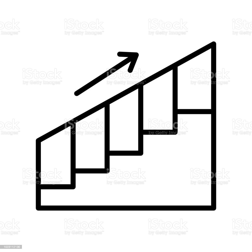 Stairs Icon Vector Sign And Symbol Isolated On White Background