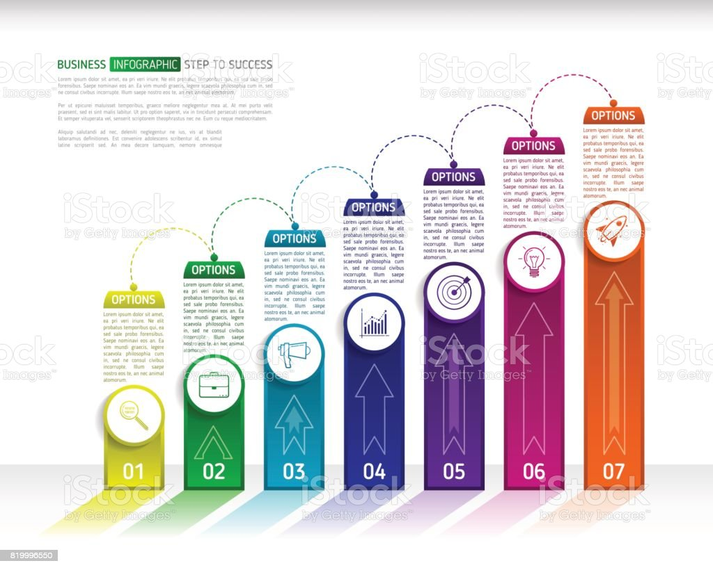 Ilustración de Plantilla De Diseño Infográfico De Escaleras Con 7 ...