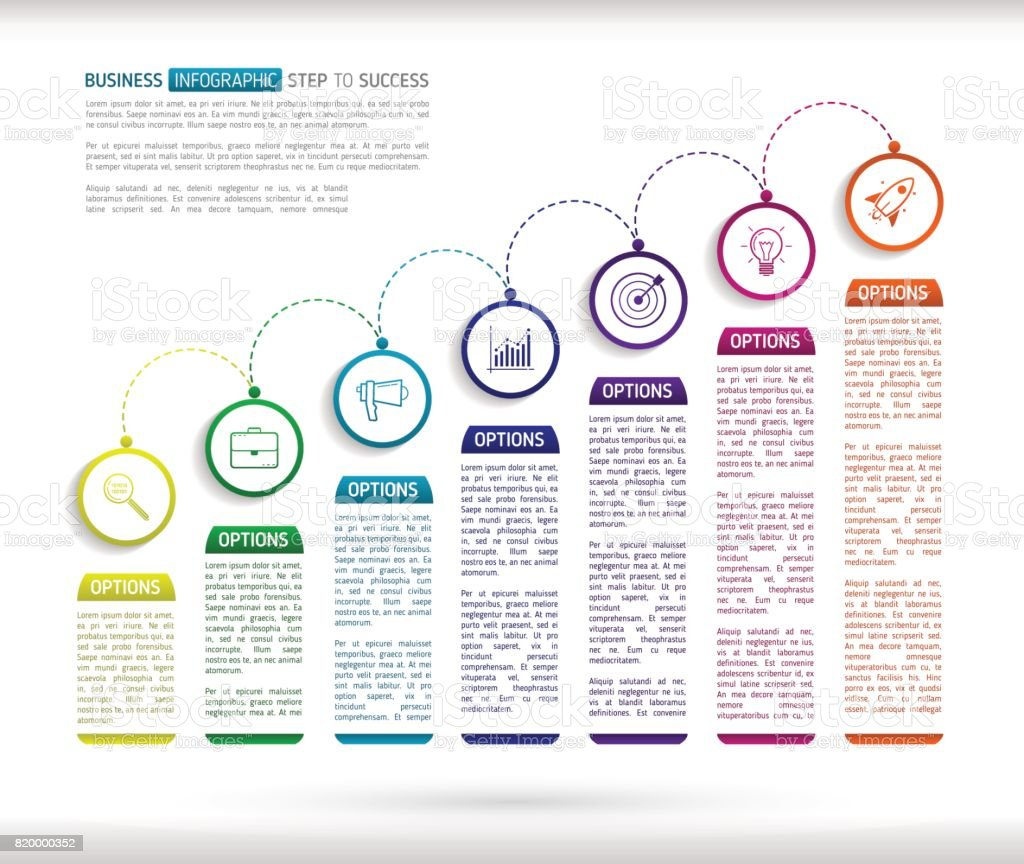 stairs infographic design template with 7 multi colored successively