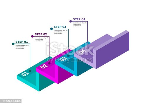 istock Stairs infographic. Four steps or options. 1295090664