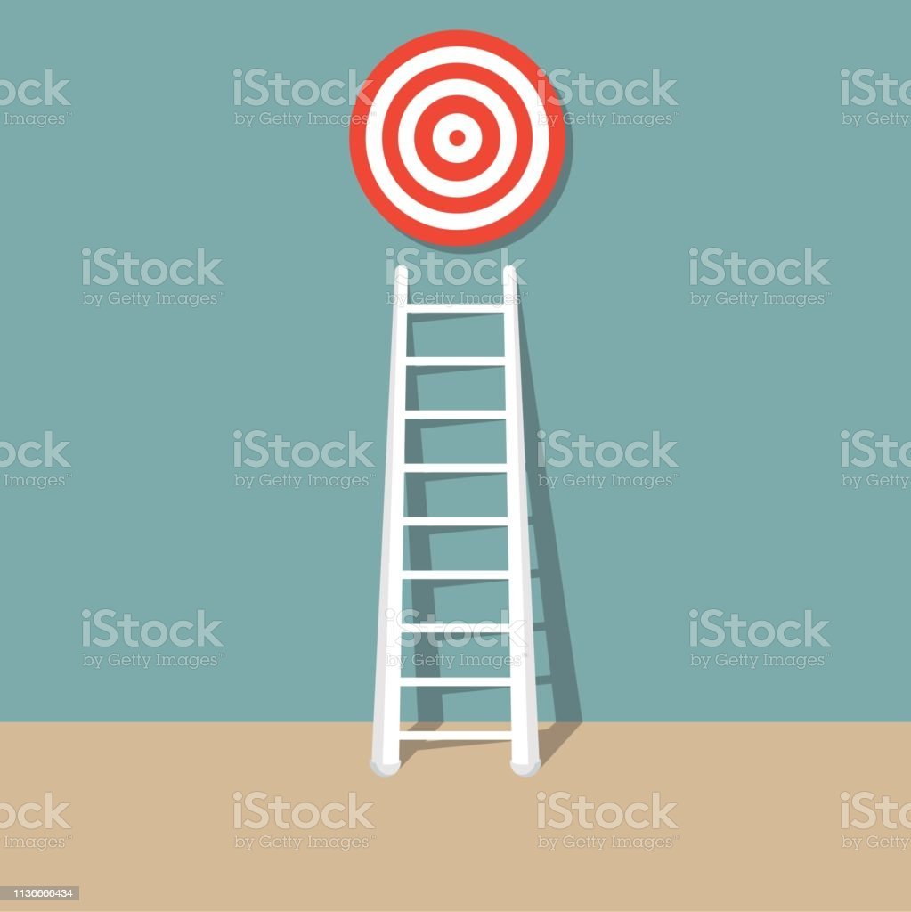 Stairs to goal. Stairs to top of target. Business concept. Strategy...