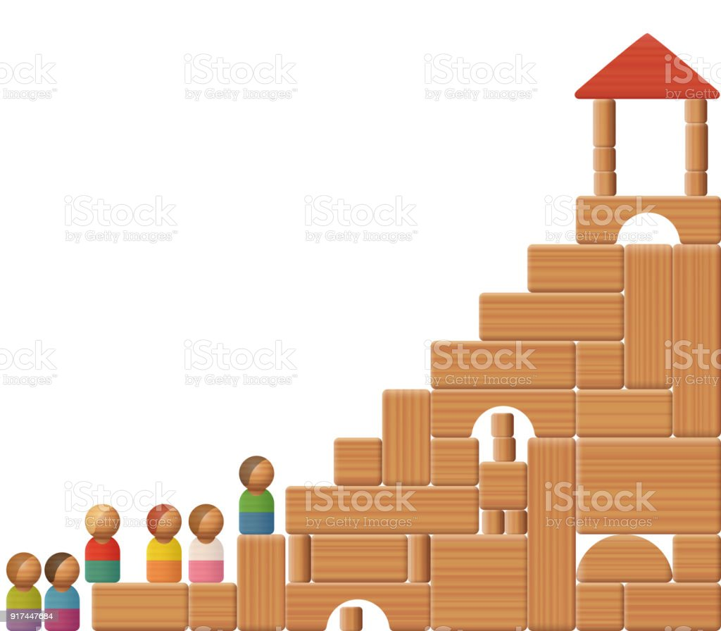 Stairs To Success Shown With Building Blocks And Toy Figures Symbol