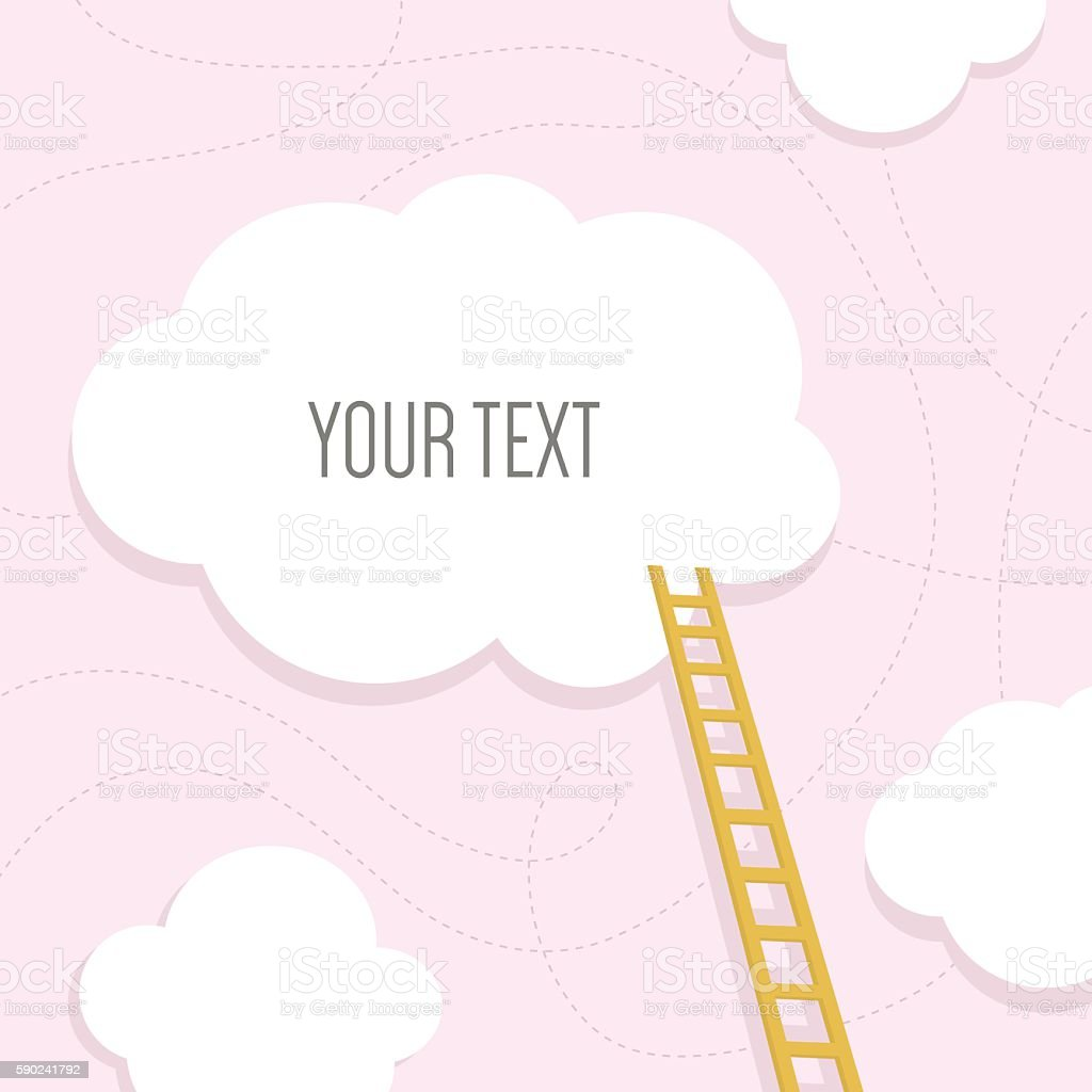 Stairs to the cloud with text place.Vector Illustration vector art illustration