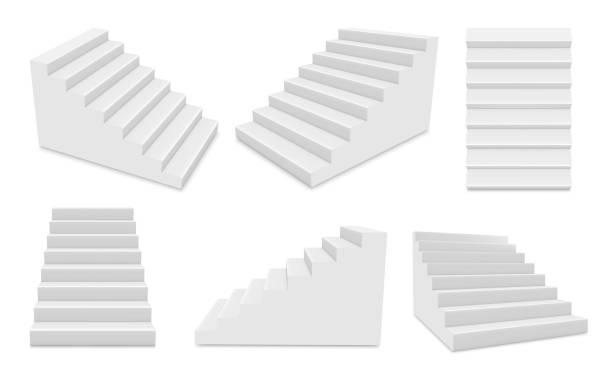treppen mit weißen stufen in unterschiedlicher position realistisch gesetzt. treppe für außen- oder innen-mockups. - treppe stock-grafiken, -clipart, -cartoons und -symbole