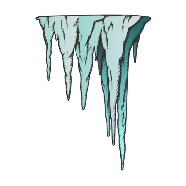 bildbanksillustrationer, clip art samt tecknat material och ikoner med stalaktit forntida grotta element färg vektor - stalagmit