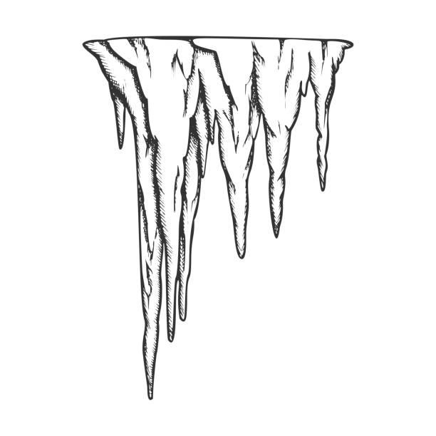 bildbanksillustrationer, clip art samt tecknat material och ikoner med stalaktit forntida grotta element vintage vektor - stalagmit