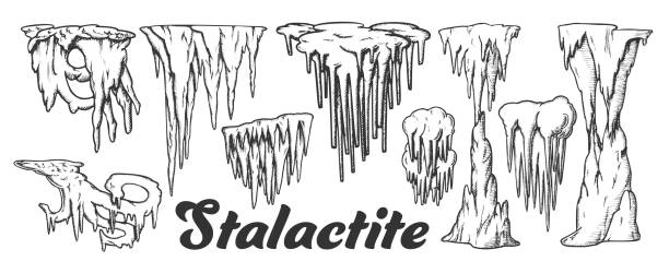 bildbanksillustrationer, clip art samt tecknat material och ikoner med stalaktit och stalagmit monokrom set vector - stalagmit