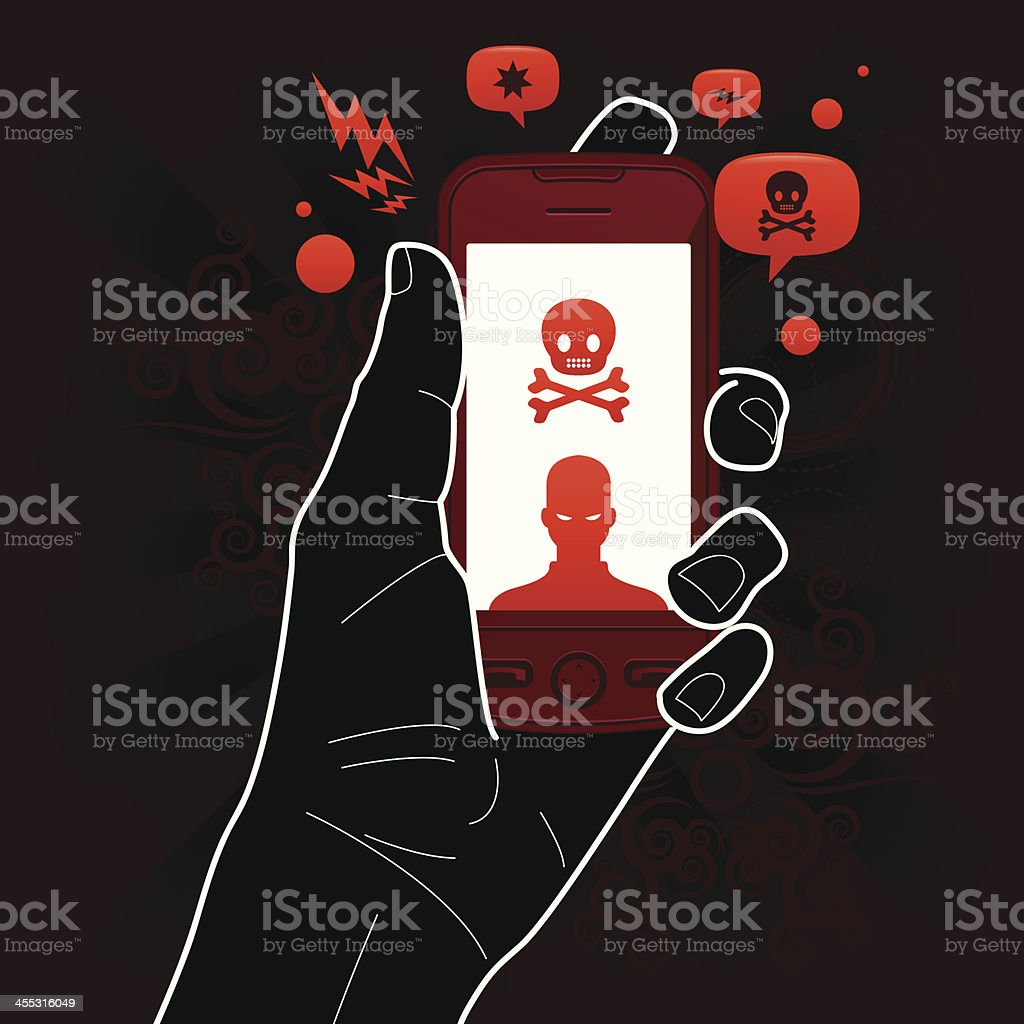 Stalking mobile phone threat vector art illustration