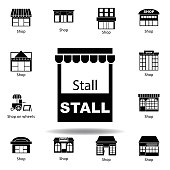stall icon. Signs and symbols can be used for web, logo, mobile app, UI, UX on white background