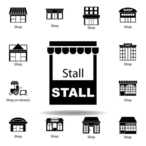 ilustrações de stock, clip art, desenhos animados e ícones de stall icon. signs and symbols can be used for web, logo, mobile app, ui, ux - shop icon