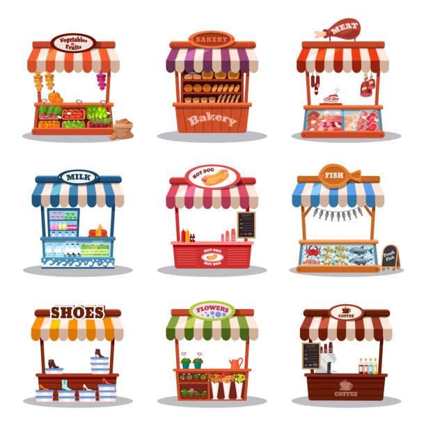 Stall street market vector illustration. Food market kiosk with vector art illustration