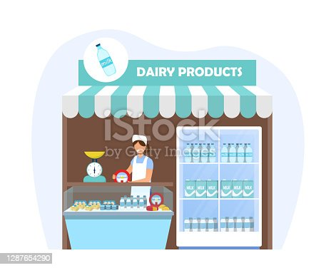 Stall with dairy products. Products from farm, fresh healthy food. Woman standing at the stall and selling milk. Flat cartoon vector illustration