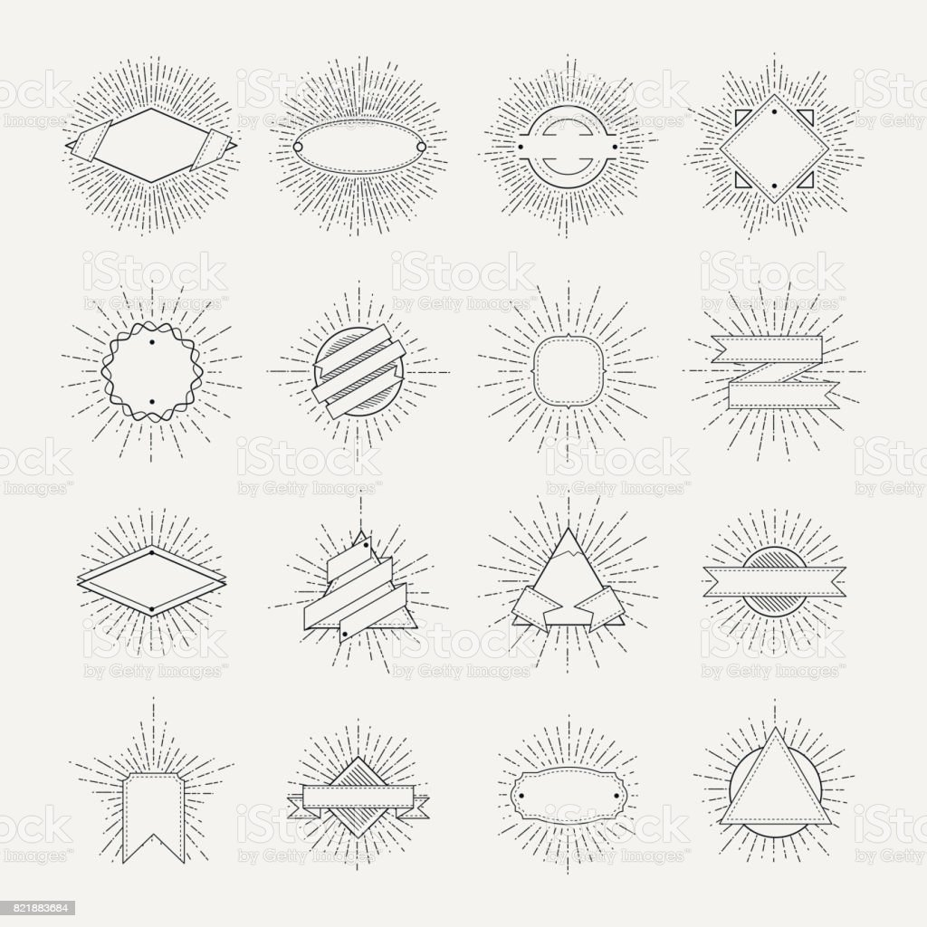 Stamp and badges collection. Different shapes and sunburst frames. Vintage monochrome banners and vector ribbons - ilustração de arte vetorial