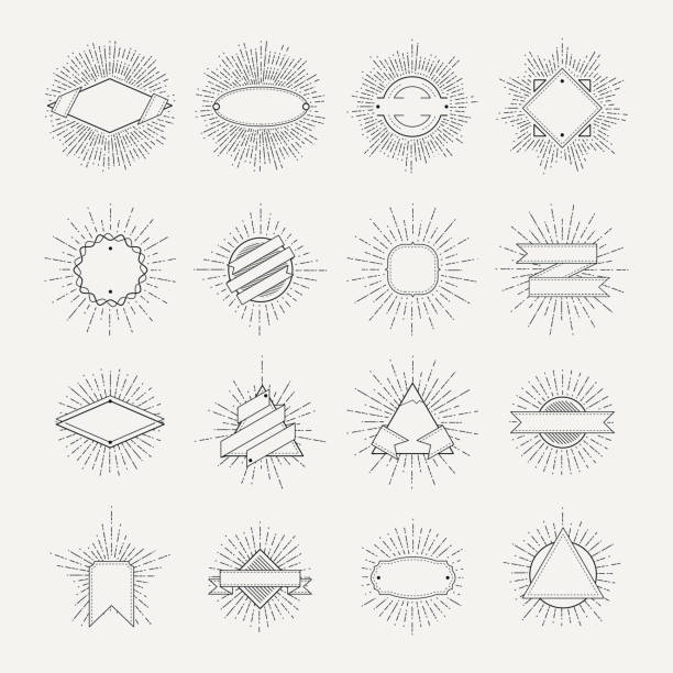 stamp and badges collection. different shapes and sunburst frames. vintage monochrome banners and vector ribbons - hipster fashion stock illustrations, clip art, cartoons, & icons