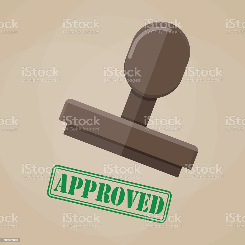 stamp approved in green on brown background - illustrazione arte vettoriale