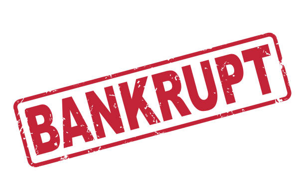 stamp bankrupt with red text on white - bankruptcy stock illustrations, clip art, cartoons, & icons