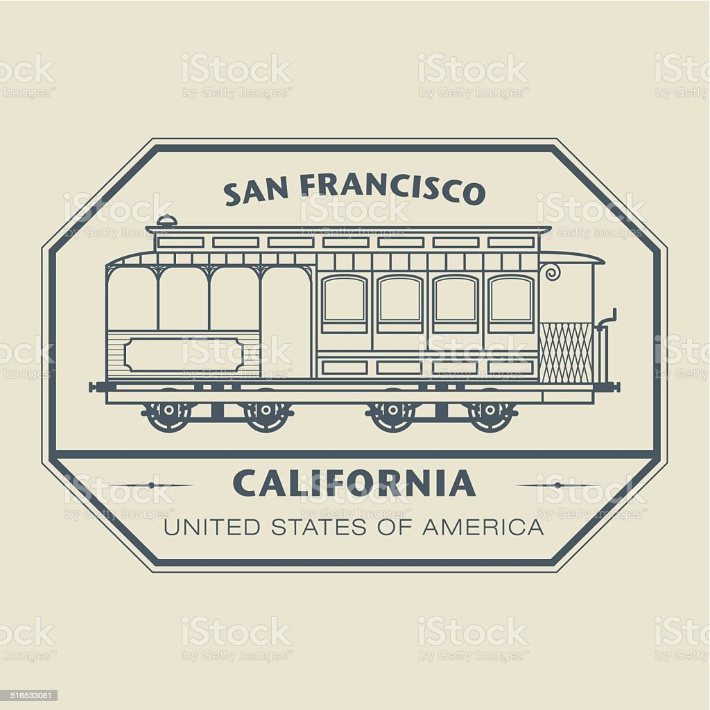 Stamp California, San Francisco vector art illustration