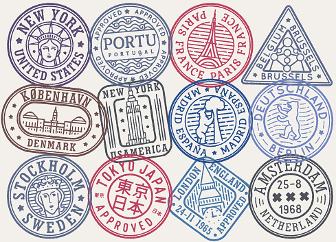 Stamp concept set with tourist attractions of world city and capital. Сoat of arm and symbol collection of city and country. Visa passport stamps, airport or postal stamp